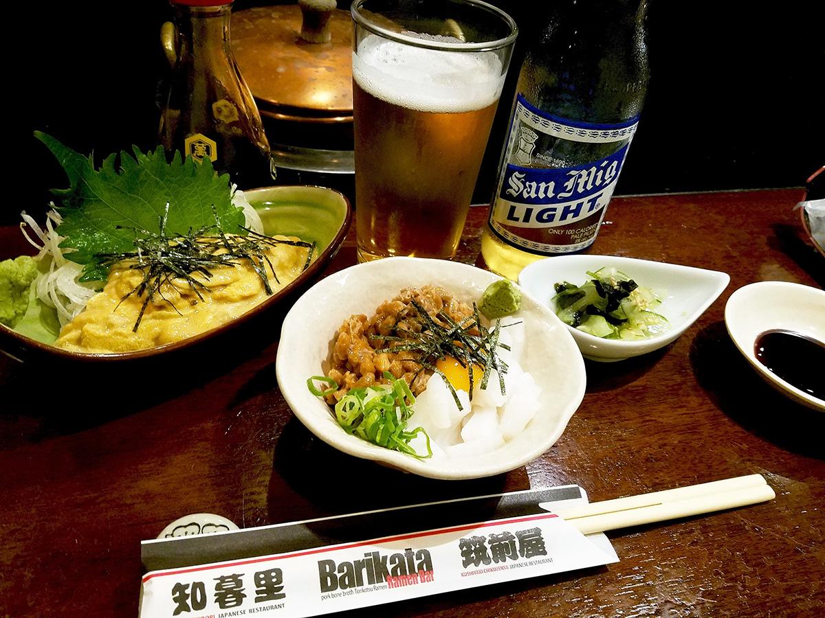 イカ納豆とウニ刺身