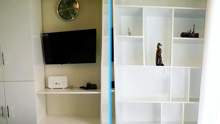 壁に収納とテレビ付き